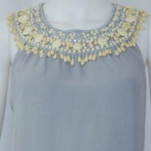 NWT Bby Gray Beaded Dress Sz M